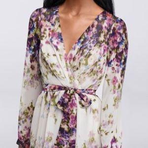 Jessica Simpson Faux Wrap Watercolor Dress